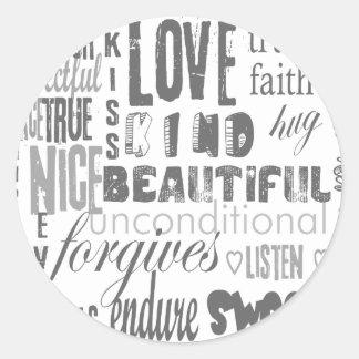 Faith Love Bible Verse Christian  1Corinthians 13 Classic Round Sticker