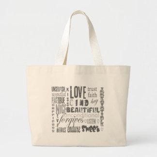 Faith Love Bible Verse Christian  1Corinthians 13 Large Tote Bag