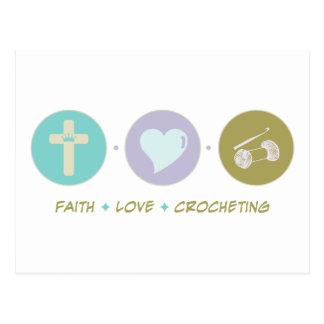Faith Love Crocheting Postcard