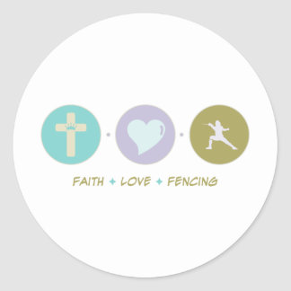 Faith Love Fencing Classic Round Sticker