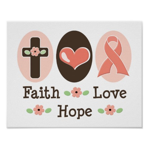 Faith Love Hope Breast Cancer Pink Ribbon Poster