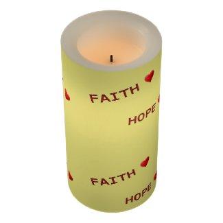 Faith Love Hope Charity Flameless Candle