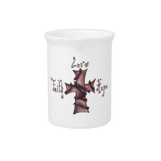 Faith,love,hope cross drink pitcher