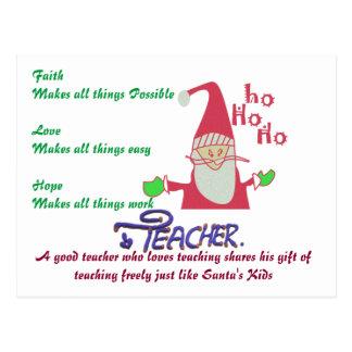 Faith Love Hope Funny Santa Hohoho! Teacher Text Postcard