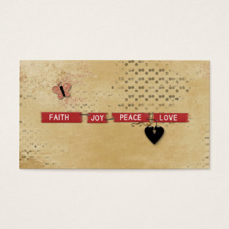 Faith Love Peace Joy Black Heart Butterfly Design Business Card