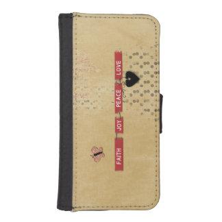 Faith Love Peace Joy Black Heart Butterfly Design iPhone 5 Wallet