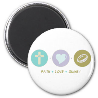 Faith Love Rugby 2 Inch Round Magnet