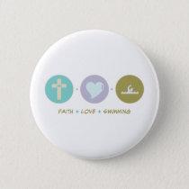 Faith Love Swimming Pinback Button
