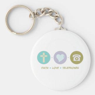 Faith Love Telephones Basic Round Button Keychain
