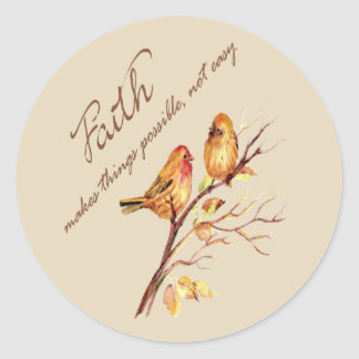 Faith makes things Possible not easy Inspirational Classic Round Sticker