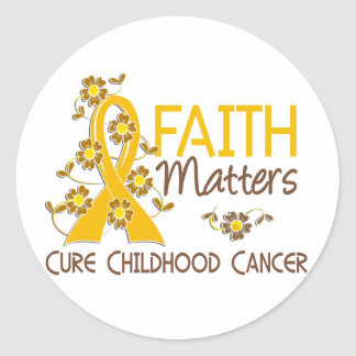 Faith Matters 3 Childhood Cancer Classic Round Sticker