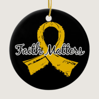 Faith Matters 5 Childhood Cancer Ceramic Ornament
