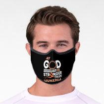 Faith My God Is Stronger Than Leukemia Awareness Premium Face Mask