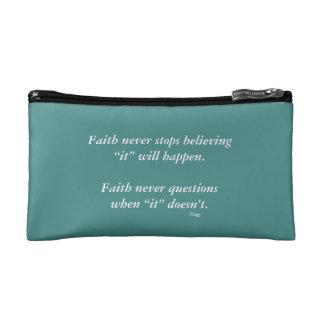 Faith Never Cosmetic Bag w/Black Outline Cross
