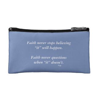 Faith Never Cosmetic Bag w/Blue Cross