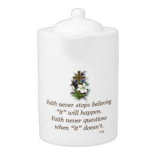 Faith Never Teapot w/Blue Flower Cross