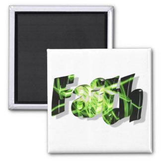 Faith Noir vert 3D 2 Inch Square Magnet