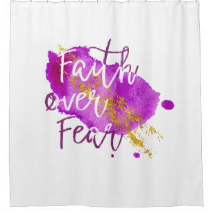 Faith Over Fear Christian Scripture Watercolor Art Shower Curtain