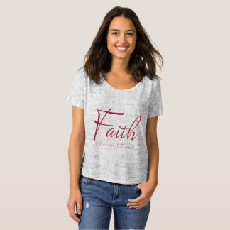 Faith Over Fear Encouragement in Red T-Shirt