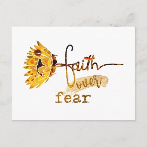 Faith over Fear Sunflower Postcard