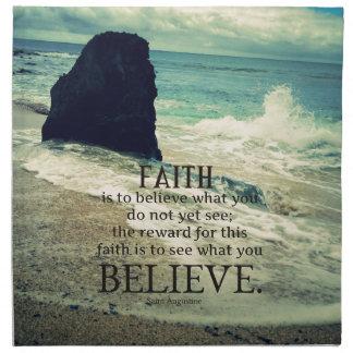 Faith quote beach ocean wave cloth napkin