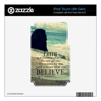 Faith quote beach ocean wave iPod touch 4G decals