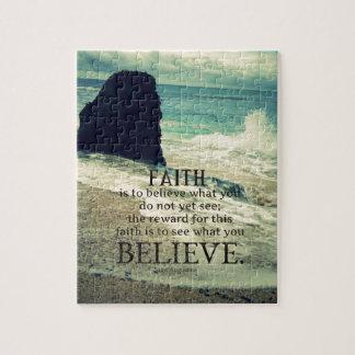 Faith quote beach ocean wave jigsaw puzzle