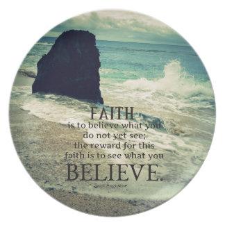 Faith quote beach ocean wave plate
