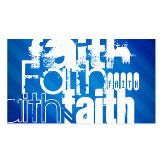 Faith; Royal Blue Stripes Double-Sided Standard Business Cards (Pack Of 100)