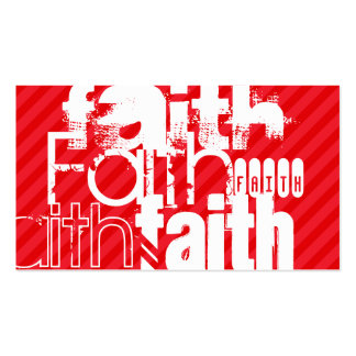 Faith; Scarlet Red Stripes Double-Sided Standard Business Cards (Pack Of 100)