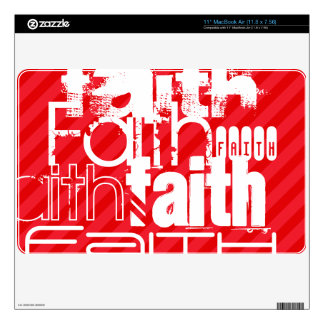 Faith; Scarlet Red Stripes Decal For MacBook