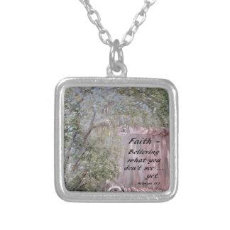 Faith Scroll Silver Plated Necklace