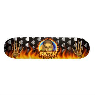 Faith skull real fire and flames skateboard