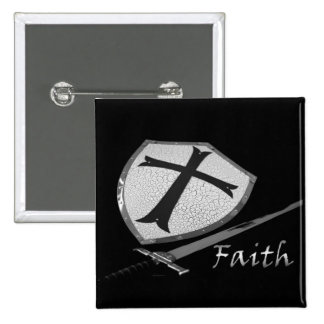 FAITH   sword and shield 2 Inch Square Button