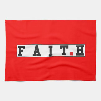 faith text message emotion feeling red dot square towels