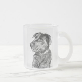 Faith the Black Lab Frosted Glass Coffee Mug