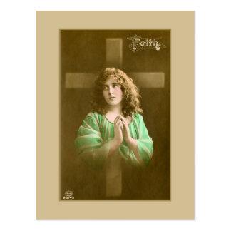 Faith vintage 1900s photograph girl praying postcard