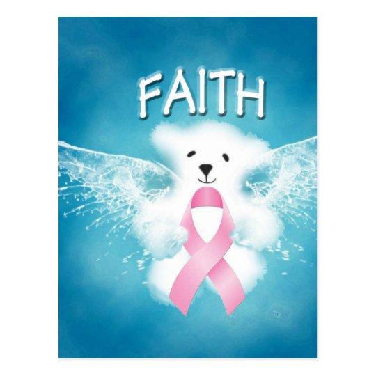 FAITH White Angel Teddy Bear Pink Ribbon Postcard