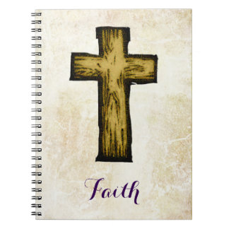 Faith Wooden Cross Symbol of Hope and Inspiration Spiral Notebook