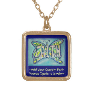 Faith Word Blue Butterfly Necklace Art Jewelry