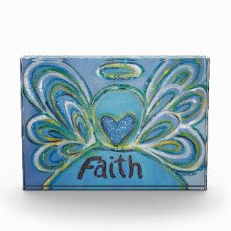 Faith Word Guardian Angel Art Custom Paperweight Acrylic Award