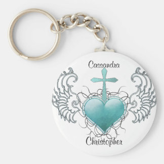 Faithful Crystal Blue Heart Key Chains