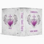 "Faithful Crystal purple Heart 1""5 3 Ring Binder"