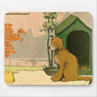 Faithful Golden Retriever and Doghouse Mouse Pad