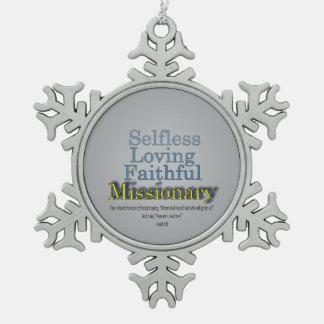 Faithful Missionary Snowflake Pewter Christmas Ornament