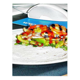 Fajitas Chicken Food Cooking Bell Peppers Onions T Postcard