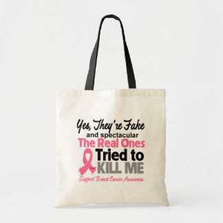 Fake and Spectacular - Breast Cancer Tote Bags