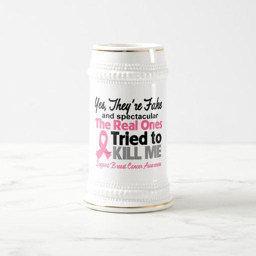 Fake and Spectacular - Breast Cancer 18 Oz Beer Stein