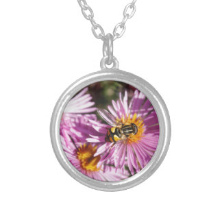 Fake Bee and Flowers Silver Plated Necklace