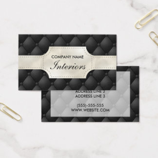 Fake Black And White Tufted Leather Business Card